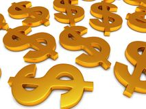 3D Dollar signs on white Royalty Free Stock Photography