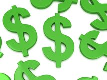 3D Dollar signs on white Royalty Free Stock Photos