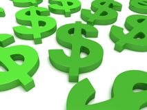 3D Dollar signs on white Stock Photos