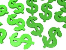 3D Dollar signs on white Royalty Free Stock Image