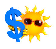 3d Dollar sun. 3d render of the sun holding the US Dollar symbol Stock Image