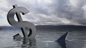 Dollar symbol sinking in the sea Royalty Free Stock Photo