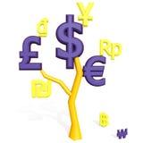 3d dollaren, euroet, pund undertecknar på ett träd Arkivbilder