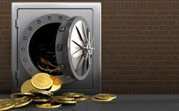3d dollarmuntstukken over bakstenen Royalty-vrije Stock Afbeeldingen