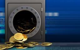 3d dollarmuntstukken over cyber Royalty-vrije Stock Fotografie