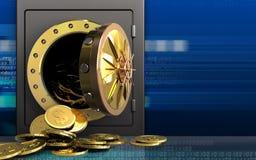 3d dollarmuntstukken over cyber Stock Afbeelding