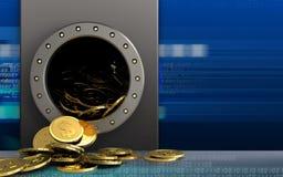 3d dollarmuntstukken over cyber Stock Foto
