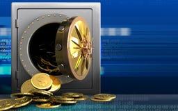 3d dollarmuntstukken over cyber Royalty-vrije Stock Afbeeldingen