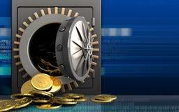 3d dollarmuntstukken over cyber Royalty-vrije Stock Foto