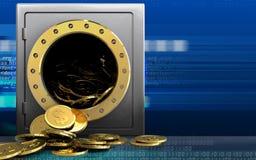 3d dollarmuntstukken over cyber Stock Foto's