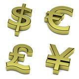 3D dollaro, euro, di sterlina, Yen, insieme di simbolo di valute di yuan su bianco Fotografie Stock Libere da Diritti