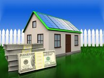 3d dollars over grass and fence. 3d illustration of home with solar panel with dollars over grass and fence background Royalty Free Stock Photos