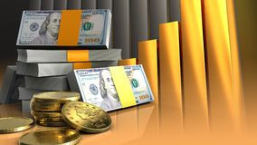 3d of dollars stack Royalty Free Stock Photography