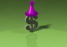 3D Dollarteken met partijhoed Royalty-vrije Stock Afbeelding