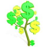 3d dollarteken op een boom Stock Afbeelding
