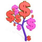 3d dollarteken op een boom Royalty-vrije Stock Afbeeldingen