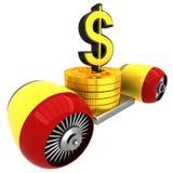 3D Dollarteken op vliegende motor Royalty-vrije Stock Afbeeldingen