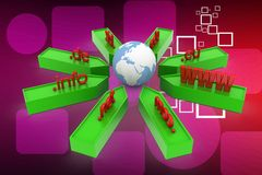 3d domain names illustration Stock Photo