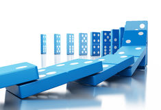 3d Domino tiles falling in a row. 3d illustration. Domino tiles falling in a row. Business concept. Isolated white background Royalty Free Stock Image