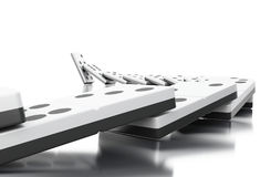 3d Domino tiles falling in a row. 3d illustration. Domino tiles falling in a row. Business concept.  white background Royalty Free Stock Images