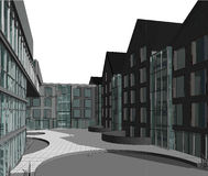 3D domu fasady wielopiętrowy mieszkanie zdjęcia stock