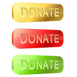 3D donate buttons. 3D rounded glossy donate buttons isolated on white background Stock Image