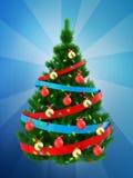 3d donkergroene Kerstboom over blauw Stock Foto's