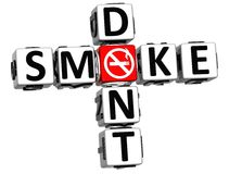 3D Dont Smoke Crossword. On white background Stock Image