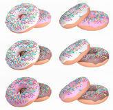 3D donuts in chocolate, strawberry and vanilla Royalty Free Stock Images
