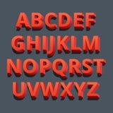 3D Doopvont Driedimensionele alfabetbrieven Vector illustratie Stock Afbeelding