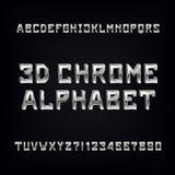3D doopvont van het chroomalfabet Volumetrische metaaleffect letters en getallen Stock Fotografie