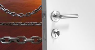 3D Door and chains. Digital composite of 3D Door and chains Royalty Free Stock Photography