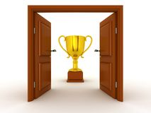 3D Door and Gold Trophy Stock Images
