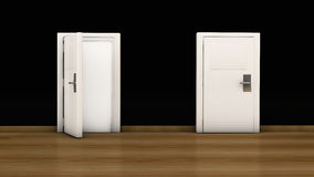 3d door open and close Royalty Free Stock Photography