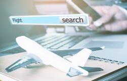 3D doos van het vluchtonderzoek voor online reisbureau Stock Afbeelding