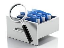 3d dossierkabinet Het concept van het onderzoek Royalty-vrije Stock Foto's