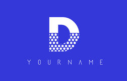 D Dotted Letter Logo Design with Blue Background. Royalty Free Stock Photos