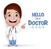 3D doutor profissional fêmea amigável novo realístico Medical Character Foto de Stock Royalty Free