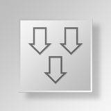 3D down arrows icon Business Concept. 3D Symbol Gray Square down arrows icon Business Concept Royalty Free Stock Photography