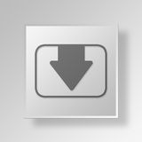 3D Download Button Icon Concept Royalty Free Stock Image