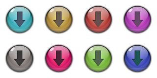 3D Download Button Multicolor. 3D Download Button logo icon symbil sing Multicolor red, blue, green, pink, purple, sky blue, dark blue, silver Stock Photography