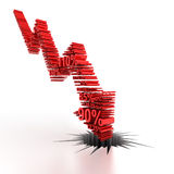 3d downward arrow formed by numbers Royalty Free Stock Photo