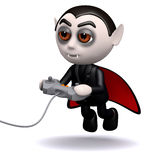 3d Dracula plays videogames Royalty Free Stock Photo