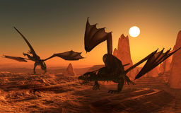3D dragons in fantasy landscape Royalty Free Stock Photos