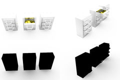 3d with drawer concept collections with alpha and shadow channel Royalty Free Stock Images