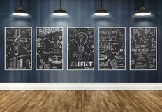 3d drawing business concept on posters Stock Image
