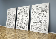 3d drawing business concept on posters Royalty Free Stock Photo