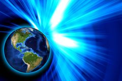 Glowing world blue ray Royalty Free Stock Photo