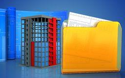 3d with drawing roll. 3d illustration of building construction with drawing roll over blue background Royalty Free Stock Photos