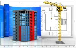 3d with drawing roll. 3d illustration of building construction with drawing roll over blueprint background Stock Photo